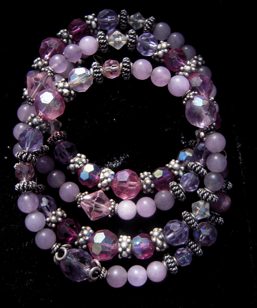 Memory Wire Bracelet With Rubies